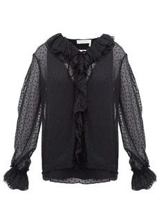 Chloé Ruffled flocked silk-blend blouse