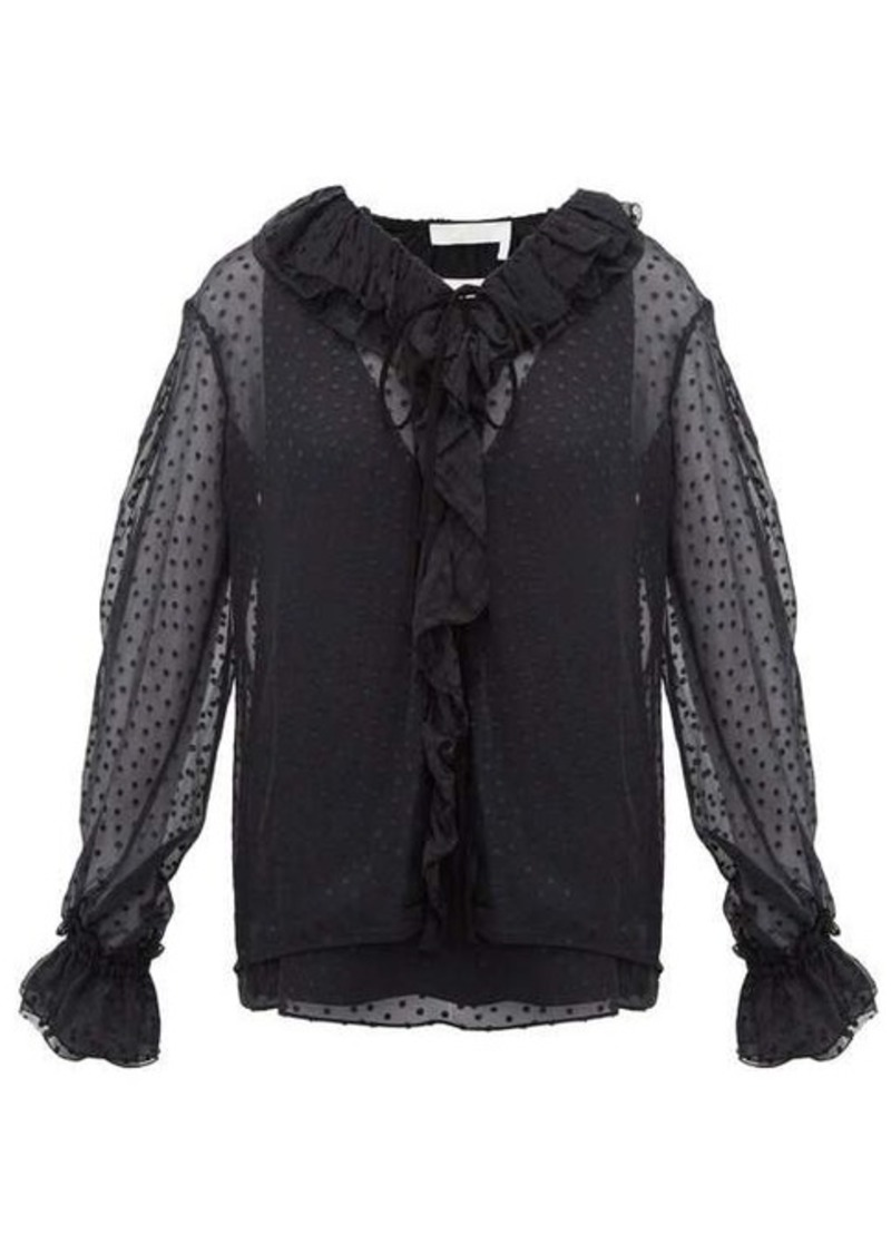 Chloé Ruffled flocked silk-blend blouse