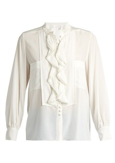 Chloé Ruffled-placket silk crepe de Chine blouse