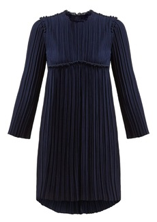 Chloé Ruffled plissé-crepe mini dress