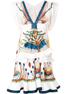 Chloé ruffled printed mini dress - White
