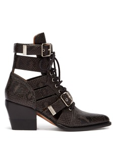 Chloé Rylee cut-out python-effect leather ankle boots
