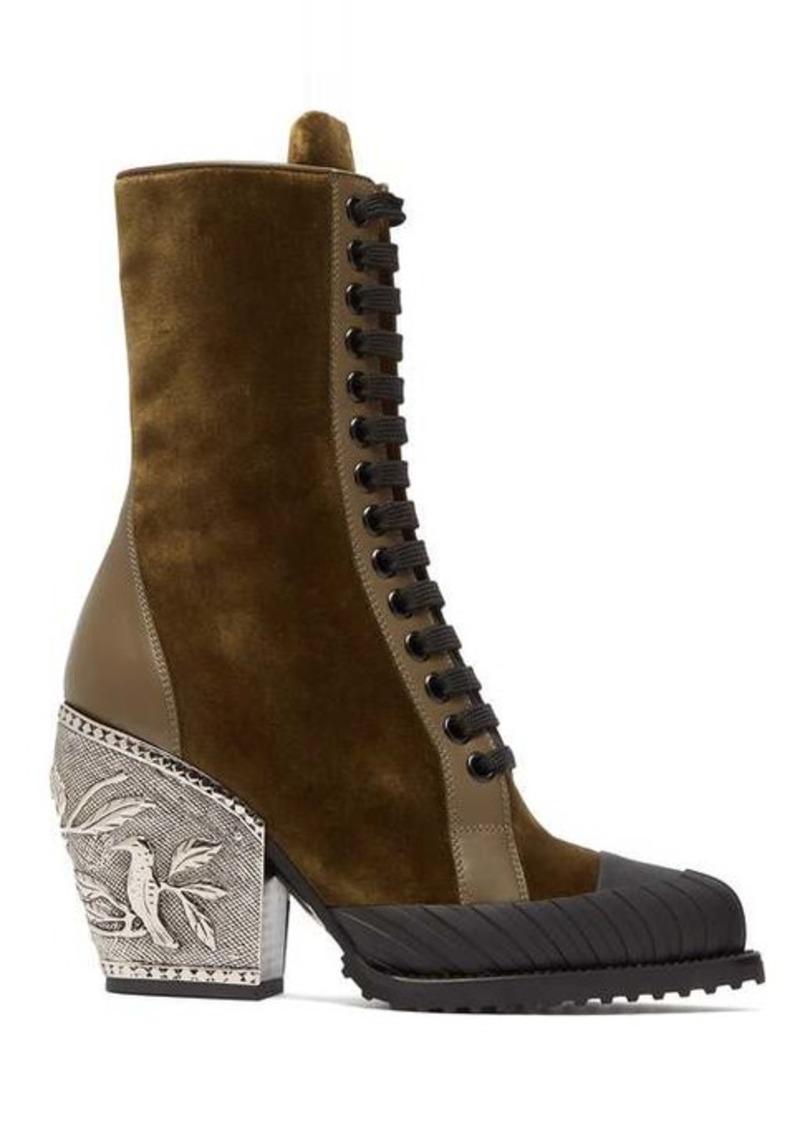 Chloé Rylee embellished-heel velvet ankle boots
