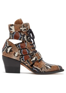 Chloé Rylee python-print leather ankle boots