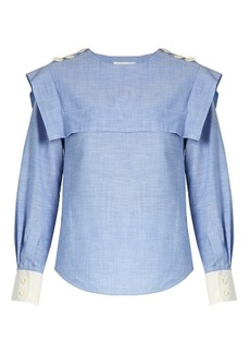 Chloé Sailor-collar cotton-chambray blouse