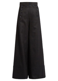 Chloé Sailor high-rise wide-leg wool-blend trousers