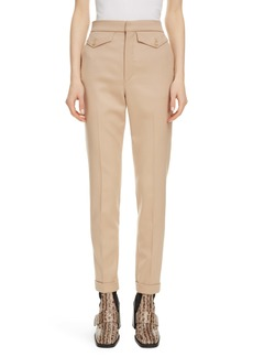 Chloé Satin Pocket Stretch Wool Slim Pants
