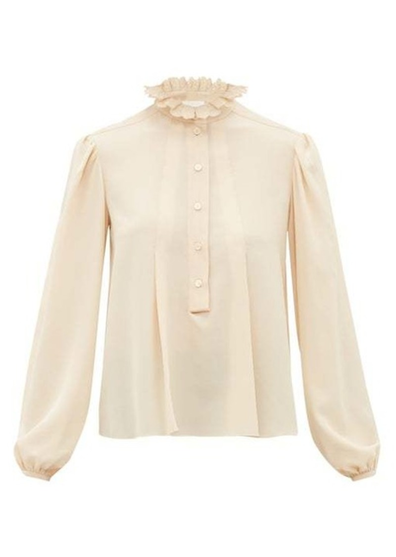 Chloé Scalloped-collar silk crepe de Chine blouse