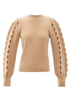 Chloé Scalloped-edge cutout wool-blend sweater