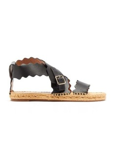 Chloé Scalloped-edge leather espadrilles