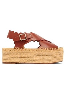 Chloé Scalloped leather flatform espadrilles