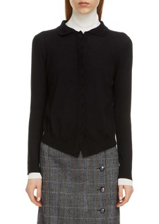 Chloé Scalloped Placket Wool Cardigan
