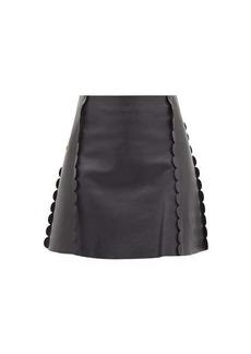 Chloé Scalloped-trim leather mini skirt