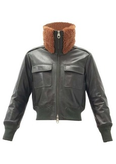 Chloé Shearling-collar leather bomber jacket