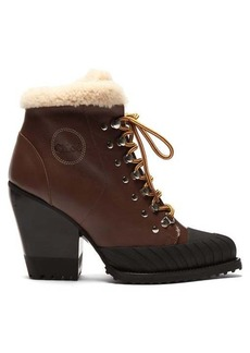 Chloé Shearling-lined leather ankle boots