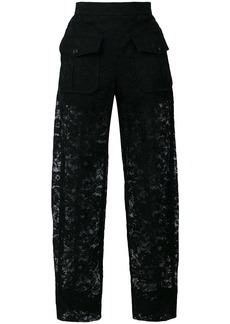 Chloé sheer lace trousers - Black