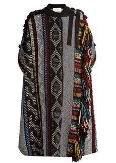 Chloé Short-sleeved fringed wool-blend cape
