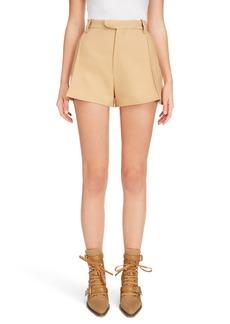 Chloé Side Pleat Wool & Silk Blend Shorts