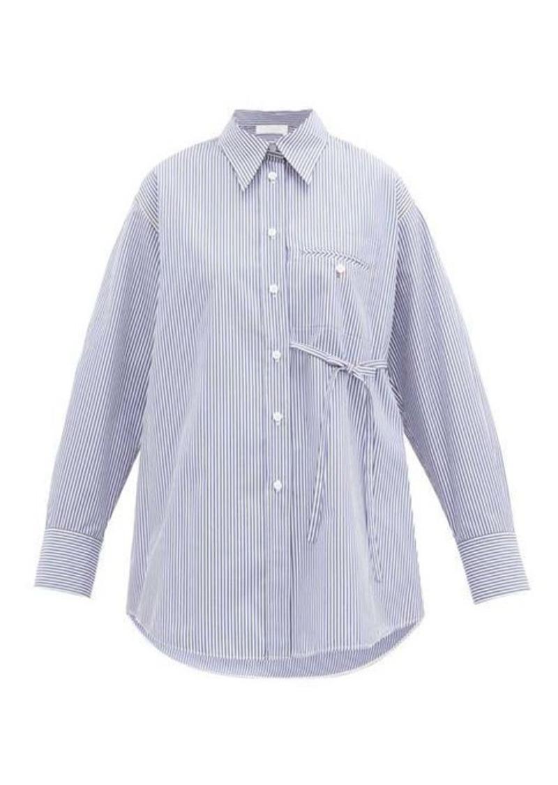 Chloé Side-tie striped cotton-poplin shirt
