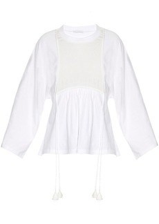 Chloé Silk-panel cotton-jersey top