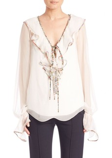 Chloé Silk Ruffled V-Neck Blouse