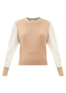 Chloé Silk-sleeve ribbed wool sweater