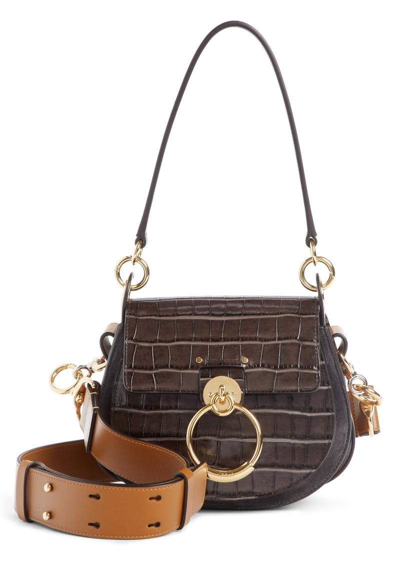 73a98d967a9262 Chloé Chloé Small Tess Croc Embossed Calfskin Shoulder Bag | Handbags