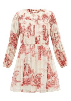 Chloé Smocked Toile de Jouy-print silk mini dress