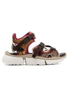 Chloé Sonnie python-effect leather trainer sandals