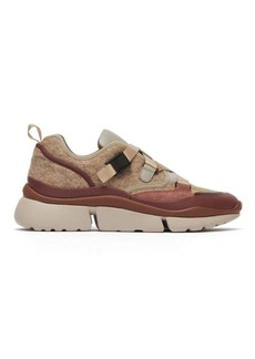 Chloé Sonnie raised-sole felt and leather trainers