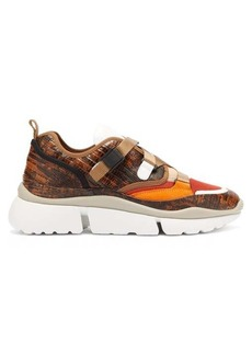 Chloé Sonnie raised-sole lizard-effect leather trainers