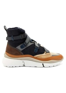 Chloé Sonnie raised-sole suede and shearling trainers