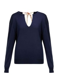 Chloé Split neck silk-blend sweater