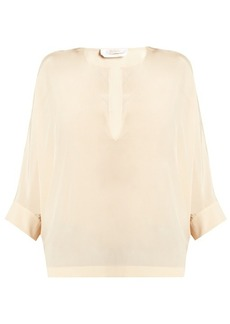 Chloé Split-neck silk crepe de Chine blouse