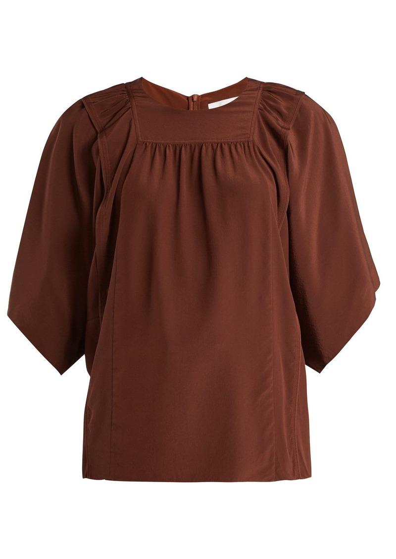 0cb8d2ec8d5168 Chloé Chloé Square-bib silk crepe de Chine blouse