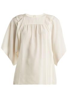 Chloé Square-bib silk crepe de Chine blouse