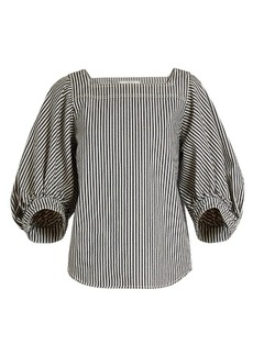 Chloé Square-neck balloon-sleeved striped top