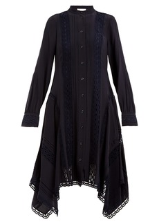 Chloé Stand-collar lace-embellished silk shirtdress
