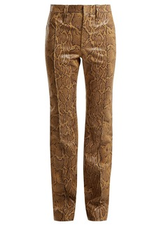 Chloé Straight-leg python-print leather trousers