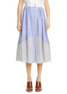 Chloé Stripe Cotton Poplin Belted Midi Skirt