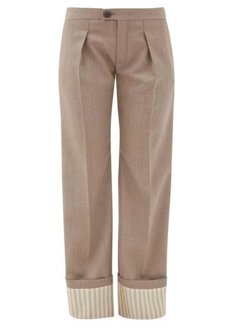 Chloé Striped-cuff virgin-wool wide-leg trousers