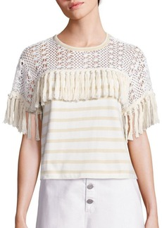 Chloé Striped Fringed Jersey Top