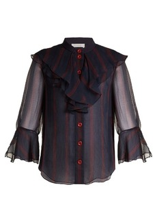 Chloé Striped ruffle-trimmed silk-chiffon blouse