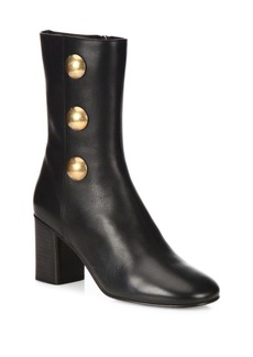Chloé Studded Leather Block Heel Ankle Boots