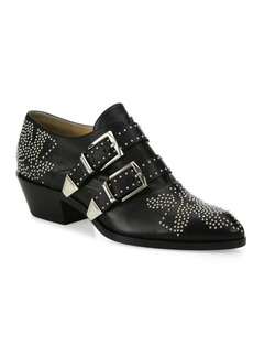 Chloé Susanna Studded Leather Loafer Booties