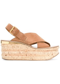 Chloé Tan Camille 80 Leather Wedges - Brown