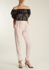 Chloé Tapered-leg ankle-tie cady trousers