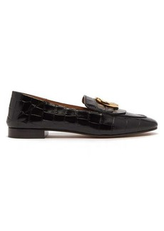 Chloé The C crocodile-effect leather loafers