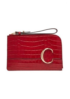 Chloé The C crocodile-effect leather pouch
