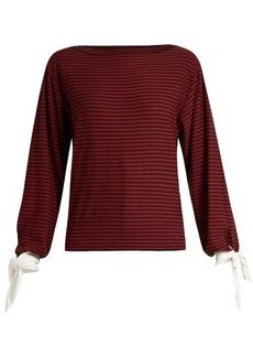 Chloé Tie-cuff striped cotton top